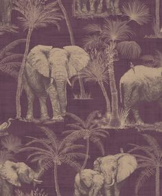 Elephant Grove Aubergine Gold Wallpaper Jungle Tropical Palm Tree Paste The Wall Tier Wallpaper, Copper Wallpaper, Metallic Wallpaper, Embossed Wallpaper, Purple Wallpaper, Print Wallpaper, Wallpaper Roll, Unique Wallpaper, Butterfly Wallpaper