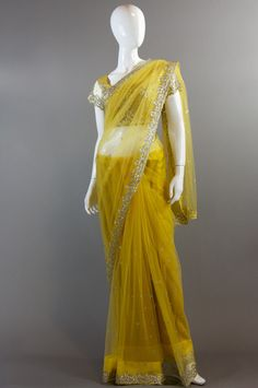 Yellow Crystal Saree