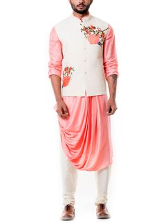 Indian Fashion Designers - Anju Agarwal - Contemporary Indian Designer - Off White Quilted Waist Coat Set - Mens Indian Wear, Indian Men Fashion, Mens Fashion Wear, Indian Party Wear, Look Fashion, Ethnic Fashion, Kurta Pajama Men, Kurta Men, Boys Kurta