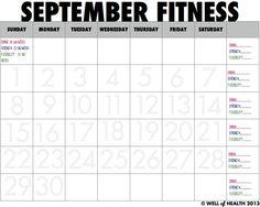 Printable September 2013 Calendar (+STEPtember Challenge) | Well of Health