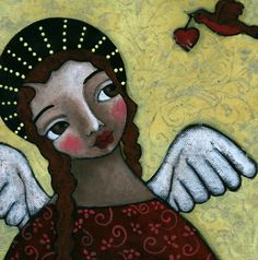 Angel with Bird of Peace Painting - Angel with Bird of Peace Fine Art Print