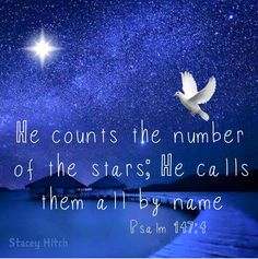 The fourth day God created the stars and from that day they have never cease to shine. Just think everyone in them have a name and He loves us more than the stars :) Grateful for his love!!