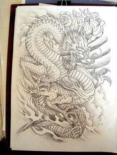 Dragão, tattoo, japonês