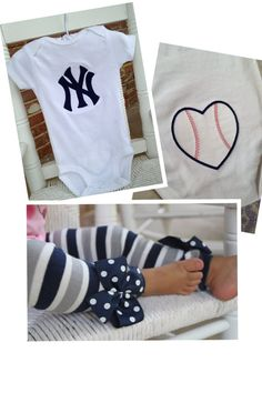 Yankees outfit for baby girl with leg warmers!