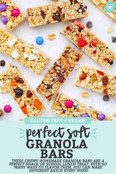 These homemade soft granola bars are loaded with goodies and naturally sweetened. A perfect healthy snack or school lunch idea! (Naturally sweetened, gluten free, vegan friendly.) // Gluten Free Granola Bars // Healthy Granola Bar Recipe // Homemade Granola Bars // After School Snack // Chewy Granola Bars // Healthy Snack // #glutenfree #dairyfree #granolabars #healthysnack #snack #schoollunch Healthy Popsicles, Healthy Granola Bars, Chewy Granola Bars, Homemade Granola Bars, Healthy Snacks, Gluten Free Treats, Vegan Gluten Free, Granola Bar Recipe Easy, Vegan Frosting