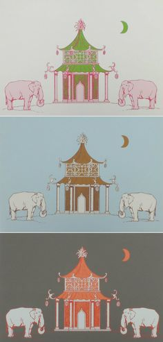 Elephant Pagoda Wallpaper by Katie Ridder