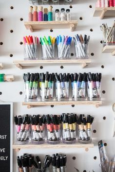 Get some really amazing eye candy pegboard inspiration with the best and more beautifully organized home offices and craft rooms #craftroom #officeinspiration #DIYpegboard #pegboard #pegboardorganizing Craft Room Storage, Craft Organization, Craft Rooms, Tool Storage, Storage Ideas, Paint Storage, Storage Rack, Organizing Ideas, Closet Organization