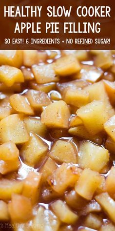 Homemade apple pie filling made much healthier without any refined or artificial ingredients. Perfect for desserts, breakfasts or just eating with a spoon! Apple Pie Recipe Easy, Homemade Apple Pie Filling, Apple Pie Recipes, Best Gluten Free Apple Pie Recipe, Fruit Recipes, Apple Filling, Sugar Free Apple Pie, Sugar Free Recipes, Slow Cooker Apples