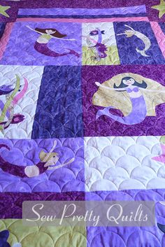 Sea Glass Mermaid Quilt | Beach & Button Crafts | Pinterest ... : mermaid quilts - Adamdwight.com