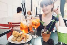 Summer drinks in Rome, Italy.