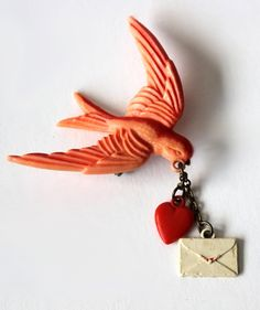1940s Flying Bird with Valentine Pin.