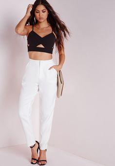 b9cfd2125d8a7 Missguided - Cigarette Pants White Trouser Pants