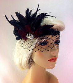 Flapper Headband,1920's Headpiece, Art Deco Headband, Rhinestone Mask/Veil, Burgundy and Black Sequins, Great Gatsby, Made to Order