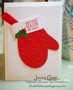 Mitten card by Jenny Creer (Independent Stampin Up demonstrator) using the embossing folders Softly Falling and Cable Knit Dynamic Texture folders. Go to website to see how I made it.