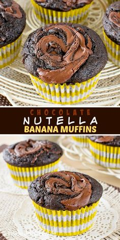 Chocolate Nutella Banana Muffins - chocolate and Nutella adds a delicious flair to these banana muffins. Great recipe to make for breakfast. Chocolate Desert Recipes, Best Chocolate Desserts, Just Desserts, Fall Desserts, Banana Nutella Muffins, Ripe Banana Recipe, Banana Bread Recipes, Cupcake Recipes, Cupcake Cakes