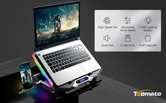 Topmate laptop cooling pad is composed of 4 small 2.5in fans and 2 large 3.9in fans. There are extended RGB light bars on both sides. Effectively reduce the temperature of your laptop. Large Fan, Small Fan, Laptop Cooler, Laptop Cooling Pad, Strong Wind, Silver Wings, Phone Stand, Bar Lighting, Phone Holder