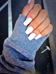 manicure - long white nails, studio white CND Shellac at enails.eu