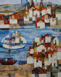 Paintings by Alicja Urbaniak, contemporary Polish artist at the Knock Gallery. Naive Art, Russian Art, Fantastic Art, Landscape Art, Folk Art, Illustration Art, Art Gallery, Abstract, Artwork