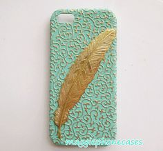 golden embossed floral iphone 5 case,iphone 5s case,gold feather mint green iphone 5 cover,iphone 5s cover