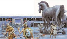 The historical writing of Barry C. Mycenaean, Minoan, Troy Horse, Ancient Troy, City Of Troy, Greece Mythology, Basic Painting, Greek Warrior, Trojan War