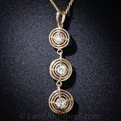 Triple Diamond Art Deco Drop Pendant - 90-1-4583 - Lang Antiques
