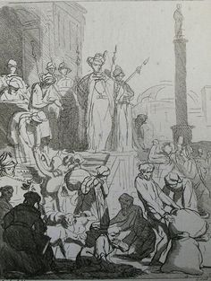The Phillip Medhurst Picture Torah 249. Joseph provides for the Egyptians. Genesis cap 47 vv 14-20. Rembrandt