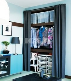 Algot frame: Ikea - A makeshift wardrobe in an alcove can be cleverly concealed by Curtain Wardrobe, Alcove Wardrobe, Bedroom Alcove, Closet Curtains, Open Wardrobe, Diy Wardrobe, Bedroom Wardrobe, Bedroom Decor, Ikea Algot