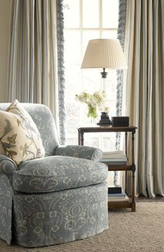 Chair in Delft Pom, Pillow in Mimi Crewel, Curtains in Line Stripe