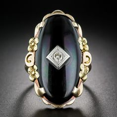 Vintage Onyx Tri-Color Gold and Diamond Ring