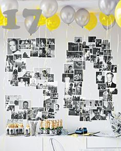 celebration, tribute photo wall_17 #photo display #photo collage #gallery wall #entertaining WONDERFUL party idea!