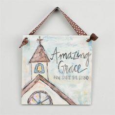 Glory Haus - Amazing Grace Chapel Ribbon Canvas - x Small Canvas Paintings, Mini Canvas Art, Diy Canvas, Canvas Ideas, Dorm Paintings, Painted Canvas, Easter Paintings, Christmas Paintings, Christmas Art