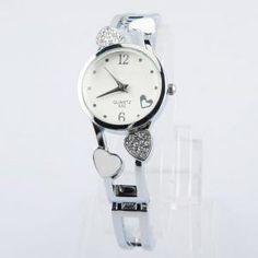 E-LY rechteckige Quarz Armbanduhr mit weißem Blumenmuster Dekoration (Weiß)