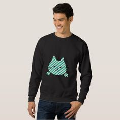 Cute Teal Striped Cat Sweatshirt - black gifts unique cool diy customize personalize