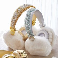 Faux-Fur Bluetooth Beaded Headphones | PBteen These are so flippin cute!