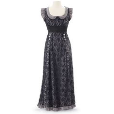 """Exclusive! Named for the qualities of performance and creativity! This marvelous maxi dress is overlaid in lace, with pewtertone buttons, a round collar, and a front sash to be left loose or tied in back. Poly/nylon. Dry clean. Imported. Color: Black/Gray. Sizes: XS (2–4), S (6–8), M (10–12), L (14–16), XL (18), 1X (18W–20W), 2X (22W–24W); 52""""–56"""" long."""