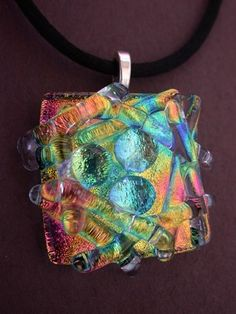 Abstract Pendant Gifts for Her Fused Glass Pendant Dichroic pattern Pendant Lavendar Rainbow Pendant