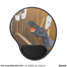 "Red-winged Blackbird Gel Mousepad. Designed and created from my original oil painting ""Marsh Song - Red-winged Blackbirds"" by Johanna Lerwick Wildlife/Nature Artist."