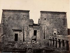 The Temple of Isis (Egyptian sun god) at Philae, pictured in 1840, was later…
