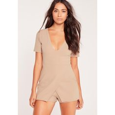 Missguided Crepe Plunge Origami Playsuit Nude (£34) ❤ liked on Polyvore featuring jumpsuits, rompers, taupe, party rompers, red rompers, red romper, plunge romper and plunging neckline romper