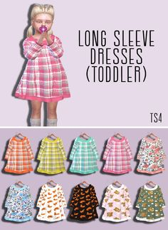 Long Sleeve Dresses by descargassims Toddler Cc Sims 4, Sims 4 Toddler Clothes, Sims 4 Cc Kids Clothing, Sims 4 Mods Clothes, Toddler Outfits, Kids Outfits, Sims 4 Cas, Sims Cc, The Sims 4 Bebes