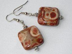Stone Earrings Rhyolite Ear Rings Birdseye Earrings by Thielen Square Earrings, Stone Earrings, Statement Jewelry, Jewelry Necklaces, Bracelets, Brown Earrings, Ear Rings, Earrings Handmade, Gifts For Mom