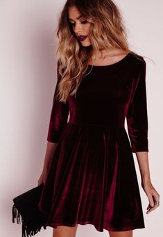 3/4 Sleeve Velvet Skater Dress Oxblood - Dresses - Skater Dresses - Missguided