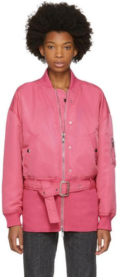 Opening Ceremony Pink Belted Bomber Jacket
