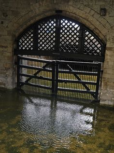 Traitors' Gate At the base of St Thomas's Tower at the Tower of London. Built for Edward I back in the 13th century, it was where prisoners were brought via the Thames to the Tower to serve time or as likely, face the axe.
