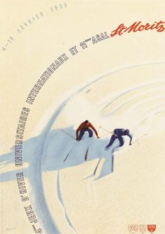 """Vintage poster for the 1935 """"Jeux D'Hiver Universitaires Internationaux"""" in #StMoritz"""