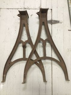 2 vintage wfu0026j barnes co industrial cast iron lathe legs heavy duty illinois usa