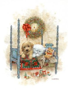 De Greg Giordano Chats et Chiens à Noel <<>> Artist Greg Giordano - Cats and Dogs Christmas