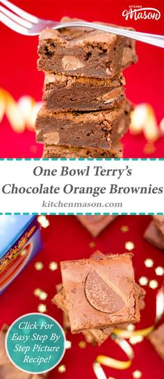 These incredible One Bowl Terry's Chocolate Orange Brownies are SO easy to make, my cats could do it! They make a perfect homemade Christmas gift too. Fun Easy Recipes, Easy Desserts, Sweet Recipes, Yummy Recipes, Easy Cheesecake Recipes, Brownie Recipes, Dessert Recipes, Orange Brownies, Chocolate Brownies