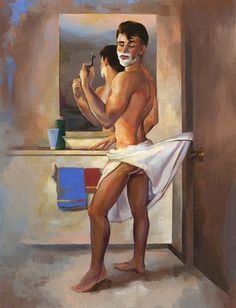 12 Spectacular Illustrations Of Men In Classic Pin-Up Poses. Quitate la toalla. Si, la toalla. Quitatela.