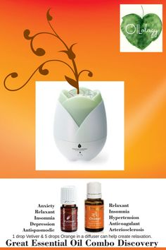 """Diffusing essential oils can help you moods in so many ways. Have you tried diffusing lately? Add 1 drop Vetiver and 5 drops Orange in a diffuser to help create relaxation. Get into the daily habit! Please """"LIKE"""" me on Facebook: https://www.facebook.com/EOAdventureswithBecky ~~ Need to purchase oils? You can find out more information at https://www.youngliving.com/signup/?sponsorid=2385830&enrollerid=2385830 ~~"""